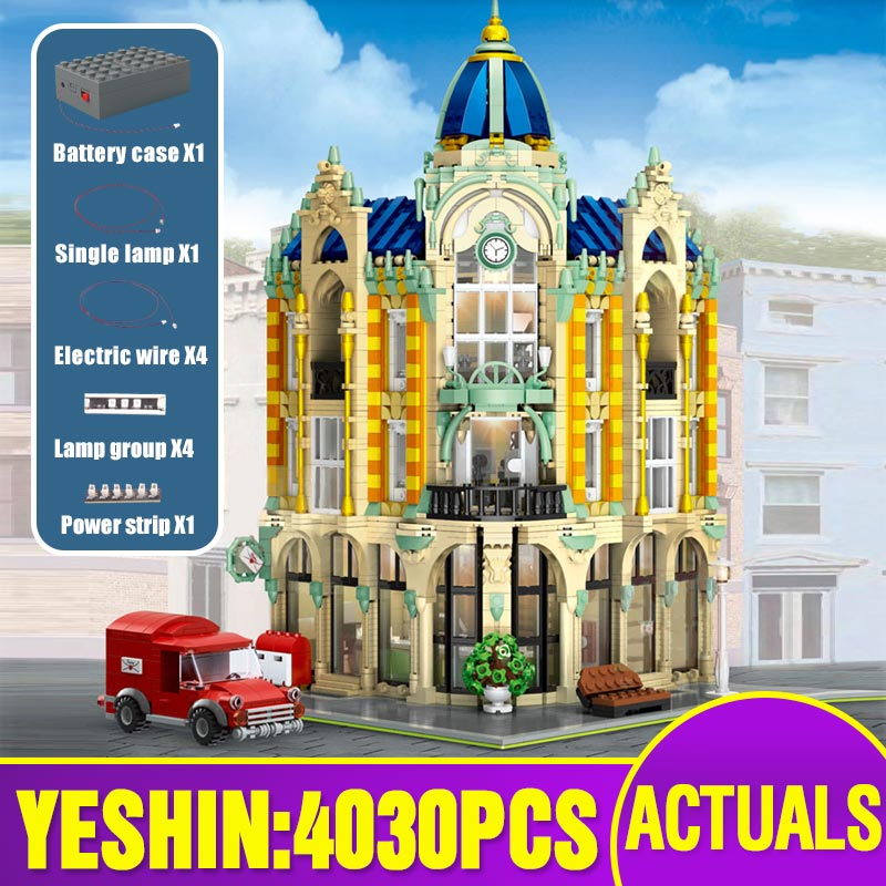 15002 15003 Street View Building Compatible With Lepining 10182 Cafe Conrner Led Light Model Building Blocks Kids Christmas Toys