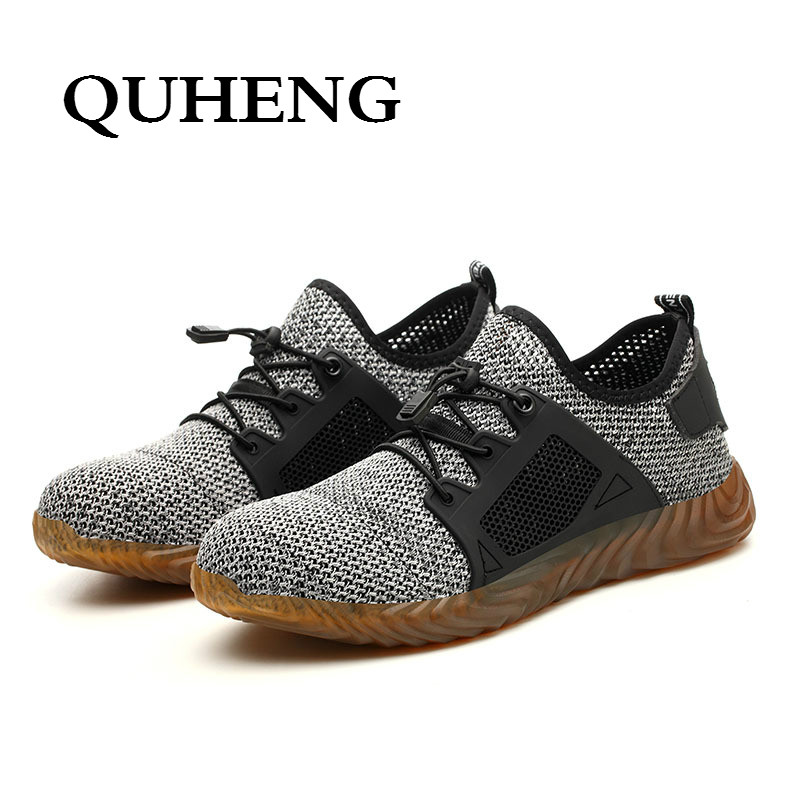 QUHENG Work Safety Shoes Woman and Men Be Applicable Outdoor Steel Toe Anti Smashing Anti-slip Puncture Proof Work Boots 4