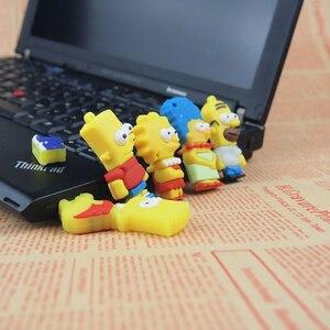 Image 4 - De silicona modelo Bart Simpson familia 128MB GB 32GB 64GB de memoria PenDrive USB U disco Pen Drive con dibujo animado USB Flash Drive lindo regalo