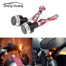 2PCS motorcycle accessories modified handlebar led turn signal handle end LED direction lights h