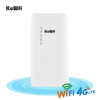 KuWFi 300Mbps Waterproof Outdoor 4G LTE CPE Router with POE adapter CAT4 3G/4G SIM Card WiFi Router for IP Camera/Outside WiFi 1