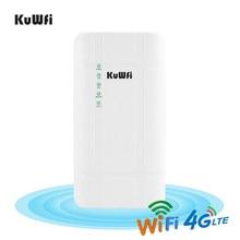 KuWFi-enrutador impermeable al aire libre, 300Mbps, 4G, LTE, CPE, con adaptador POE CAT4, Tarjeta SIM 3G/4G, WiFi, para cámara IP/WiFi exterior