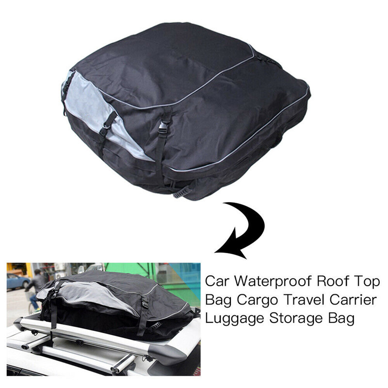 160x110x45cm Universal Waterproof Car Roof Top Rack Bag Cargo Carrier 11