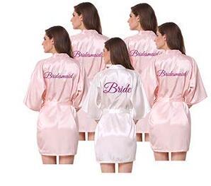 Women Satin Silk Robes Gown Wedding Bride Robe Bridesmaid Bridal Robe HP002 AU