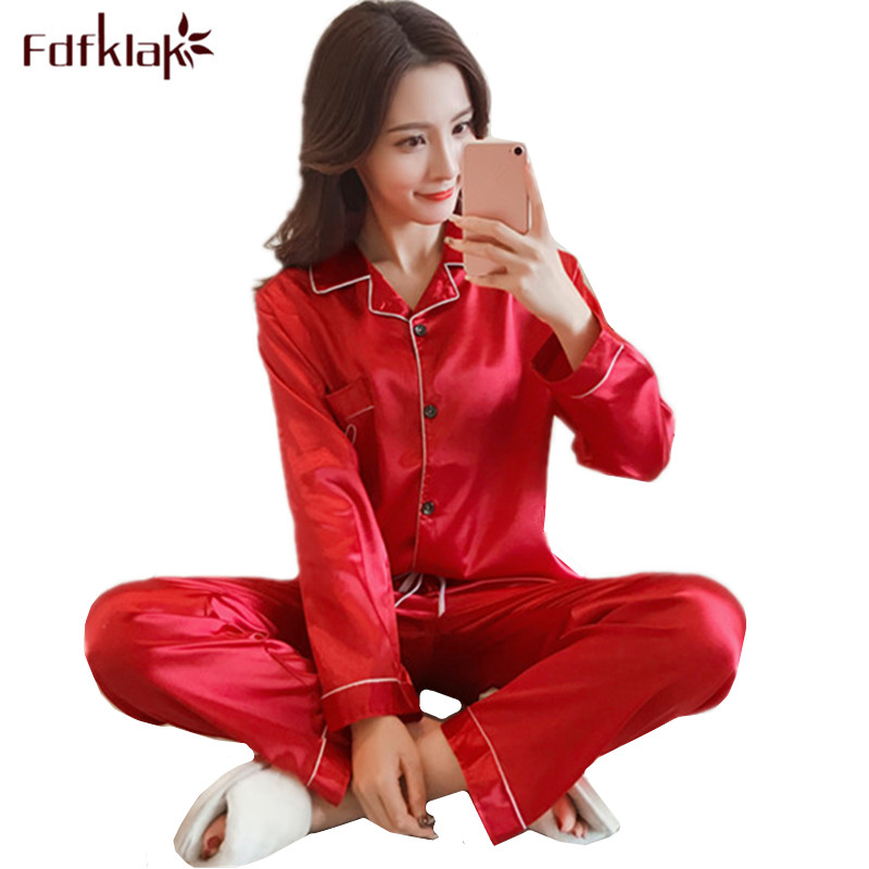 Fdfklak New Silk Satin Sleepwear Pajamas Set Spring Autumn Pyjamas Women Long Sleeve Sweet Girl's Nightwear Home Clothes