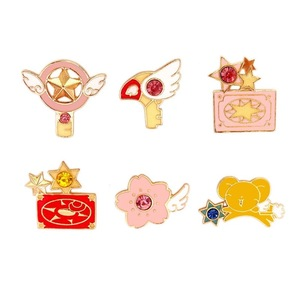 6 шт./лот, аниме-карта, Captor Sakura, косплей, Kero Sword, Kinomoto, звездная палочка, ключ, эмаль, отворот, значок, брошь, коллекция, подарок для девочки