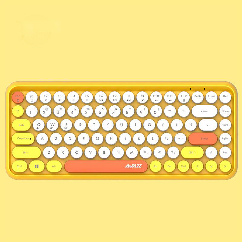 Image 5 - JellyComb Bluetooth Keyboard Retro Round Keycap Plastic Panel Colorful Border WaterproofMobile Phone KeyboardKeyboards   - AliExpress