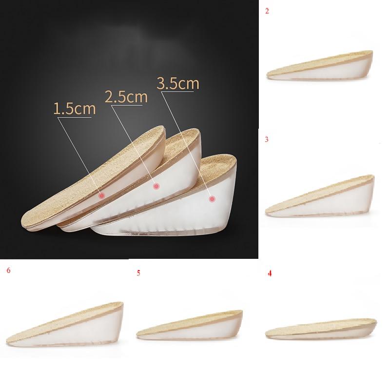 1Pair 1.5-3.5cm Women Men Silicone Gel Insoles Heel Cushion Soles Pain Relief Lift Height Increase Shoe Insoles Heel Insert Pad
