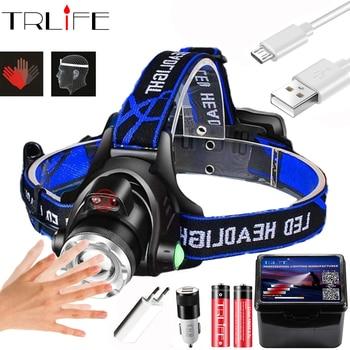 Powerfull Headlamp T6/L2/V6 Rechargeable LED Headlight Body Motion Sensor Head Flashlight Camping Torch Light Lamp for Fishing