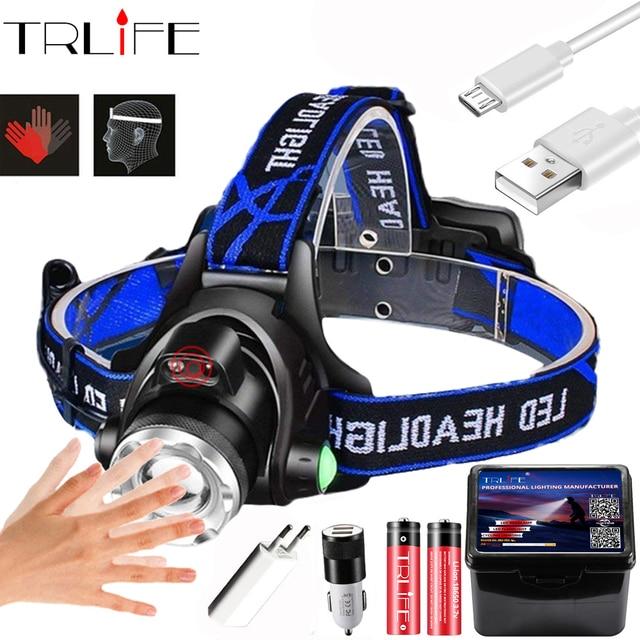 강력한 전조등 T6/L2/V6 충전식 LED 헤드 라이트 바디 모션 센서 헤드 손전등 캠핑 토치 라이트 램프 낚시