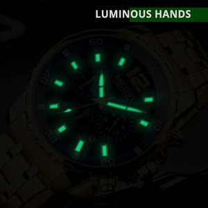Image 4 - MEGIR Black Stainless Steel Mens Watches Top Brand Luxury Luminous Waterproof Quartz Watch Man Relogio Masculino Dropshipping