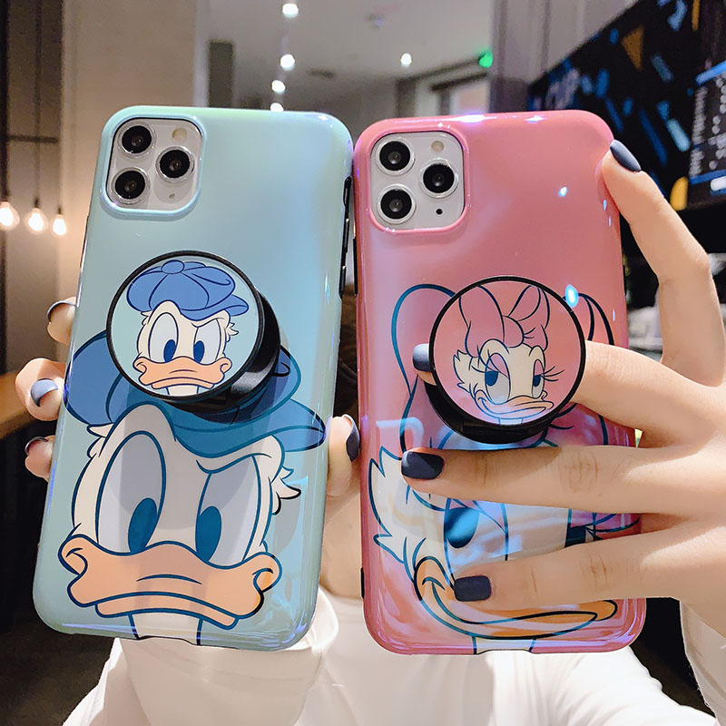 Cute Cartoon Donald Ducks Daisy blu-ray soft phone cover for iphone 11 11Pro Max Xr Xs Max X 7 8Plus Case with Kickstand coques image