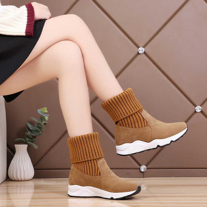 2020 moda örgü çorap Sneakers streç yarım çizmeler kadın yumuşak çeviklik kar ayakkabıları kadın kürk peluş platformu kalın Botas