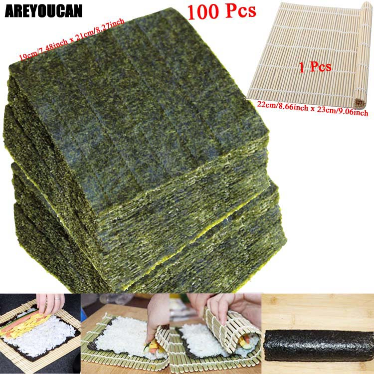 50-100Pcs Nori Sushi Seaweed Dried Laver Seaweed Nori For Sushi Set Wholesale High Quality Seaweed Nori Sushi