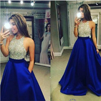 Fashion Crystal Royal Blue Satin Evening Dresses Long 2019 Halter Neck A Line Formal Dress New Multi Color Prom Party Gowns