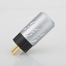 をビボル × ハイファイオーディオ1ペア純銅24 18kゴールドメッキアルミ合金20ミリメートルeu schukoバージョンの電源プラグdiyの電源ケーブル