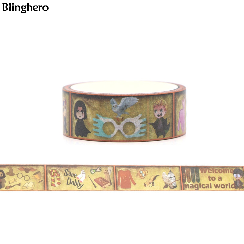 Blinghero Magic World 15mmX5m Washi Tape Stylish Masking Tape Notebook Stickers Cool Hand Account Tapes Adhesive Tape BH0033
