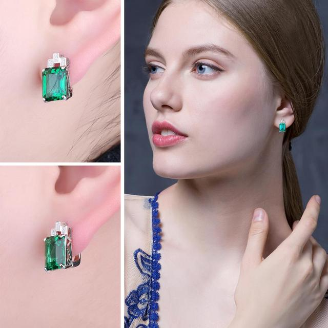 8ct Simulated Nano Emerald Hoop Earrings 925 Sterling Silver Earrings For Women Gemstones Korean Earings Fashion Jewelry 2019 2