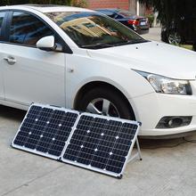 Dokio marka 100W (2 sztuk x 50W) składany Panel słoneczny chiny 18V + 10A 12V 24V kontroler bateria słoneczna komórka moduł System ładowarka tanie tanio None 1320*530*25mm FSP-50x2M Monokryształów krzemu 22 5V 18 00V 5 81A 5 56A DC1000V -45 to 80℃ 8 1KG 660*530*50mm