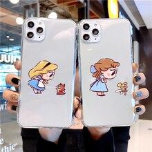 Bonito dos desenhos animados mini princesa transparente macio tpu caso de telefone para o iphone 12 11 por max 6s 7 plus 8 mais x xr xs max se menina capa
