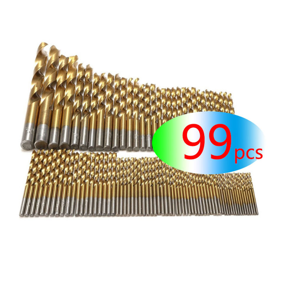 Wholesale 99Pcs HSS Titanium Coated Drill Bits High Speed Steel Drill Bit Set High Quality Power Drilling Tools For Wood