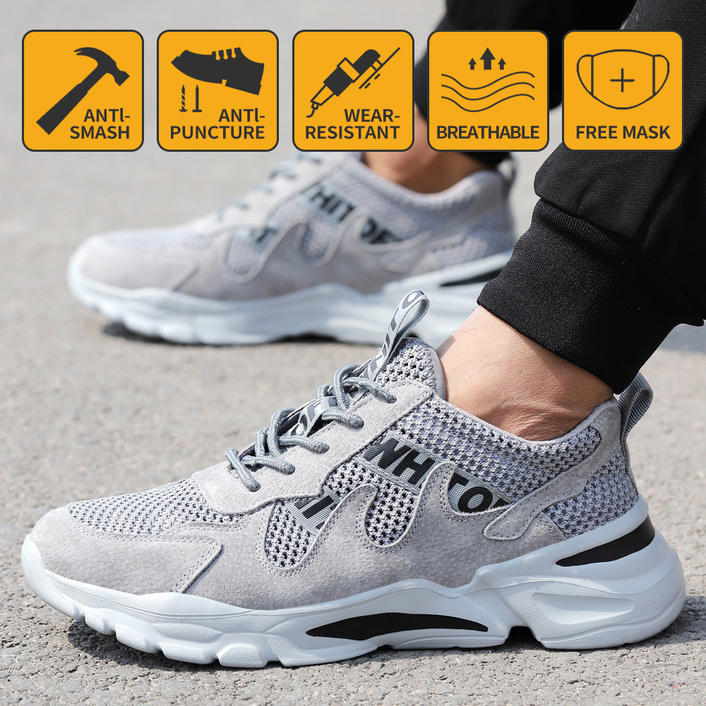Work Safety Shoes Men Lightweight Breathable Soft Comfortable Steel Toe Work Shoes Anti-smashing Puncture Proof Wearable