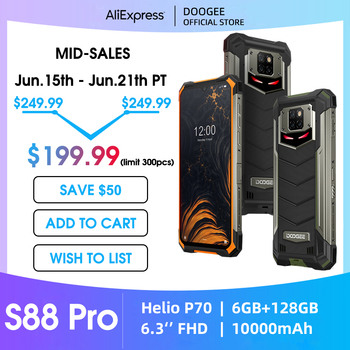 IP68/IP69K DOOGEE S88 Pro Rugged Phone 10000mAh BIG Battery Quick Changing Helio P70 Octa Core 6GB RAM 128GB ROM Android 10 OS