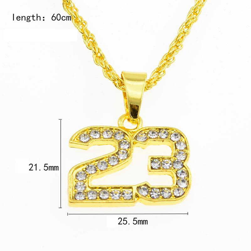 Moda numer 23 Rhinestone metalowy złoty naszyjnik kobiety mężczyźni Unisex prosta biżuteria wisiorek z długim łańcuszkiem naszyjnik kobieta mężczyzna prezenty