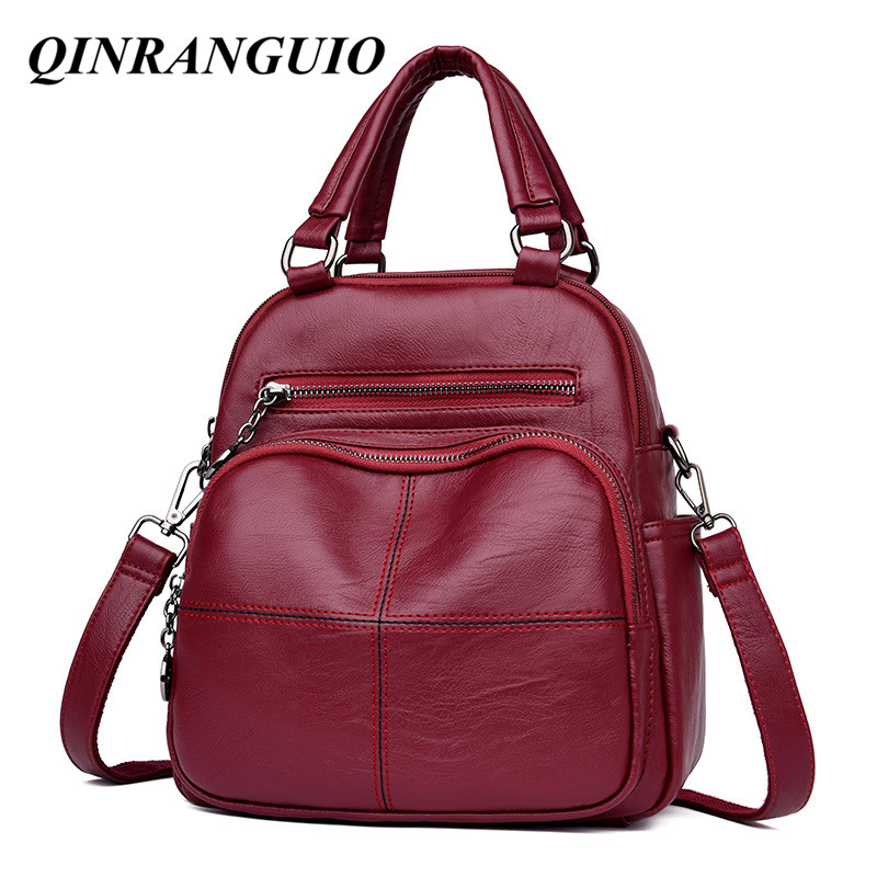 QINRANGUIO Women Backpack High Quality PU Leather Backpack Female School Bags For Teenage Girls Large Capacity Backpack Women