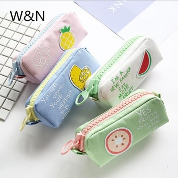 Big Zipper Pencil Case School Pencil Case for Girls Boys Student Stationery Canvas Fruit Pencil Bag Cute Pen Box School Supplies elviswords how to train your dragon printing pencil case for students children boys girls stationery school supplies pencil box