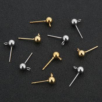20 sztuk partia hipoalergiczny ze stali nierdzewnej 316L 3 4 5 6mm okrągły Ball kolczyk Post Stud z pętli Fit DIY kolczyk two #8230 tanie i dobre opinie Ahknormailcui CN (pochodzenie) Tył kolczyka 0inch Stainless steel earring post linki do biżuterii Metal B0039 steel tone gold