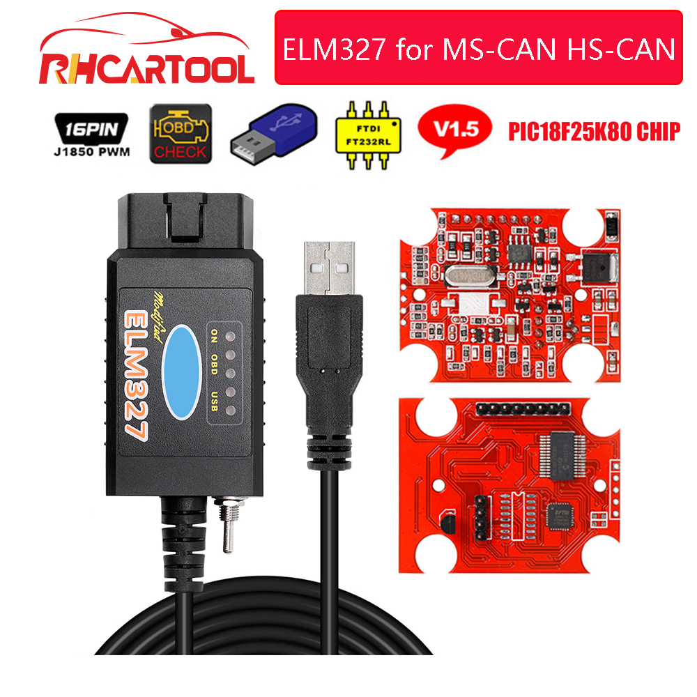 OBD2 ELM327 Pic18f25k80 For Ford For mazda ELM327 USB FTDI chip with switch For Forscan HS CAN MS CAN car diagnostic Tool