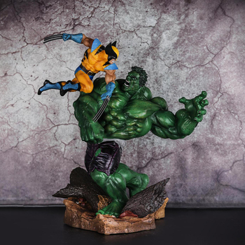 36CM 1/4 Scale Avengers Anime Figure Hulk Vs Wolverine Action Figure Hulk X-MAN Action Figure Model Decoration Toy цена 2017