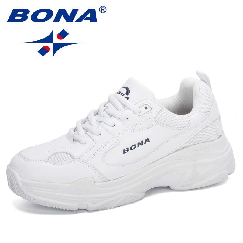 BONA 2020 New Designers White Sneakers Women Flats Shoes Vulcanize Shoes Woman Casual Zapatillas Mujer European Size Platform
