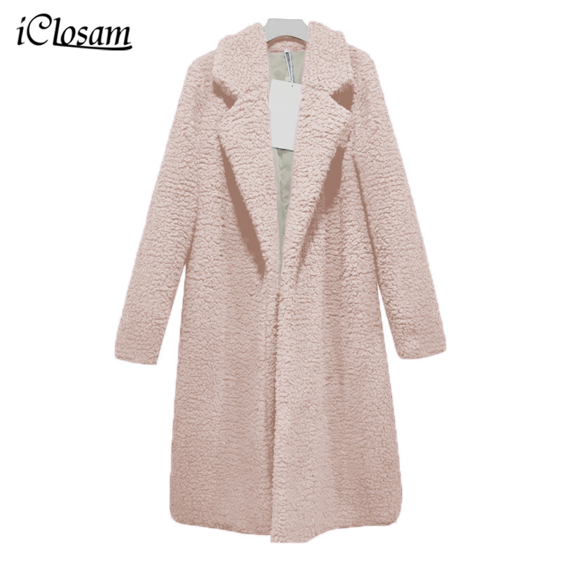 iClosam Pink Teddy Coat Women Fluffy Jacket Autumn Plush Thick Casual Plus Size Lamb Winter Faux Fur Coat Female Overcoat