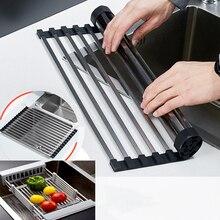 Регулируемая над раковиной дуршлаг сухая стойка Профессиональная кухонная раковина Подставка-сушилка для посуды Складная над раковиной сушилка для посуды выбор цвета