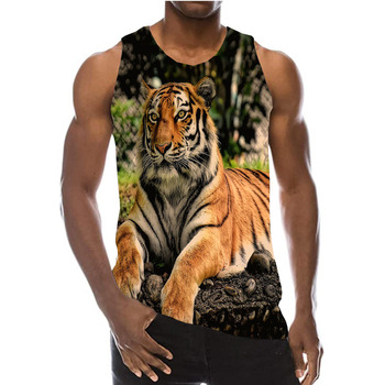 UNEY Tiger Tank Top Casual Beach Sleeveless Shirt 3D Animal Vest For Men/Woman Shirt Sport Round neck Tops personality 3d round neck gorilla print tank top for men
