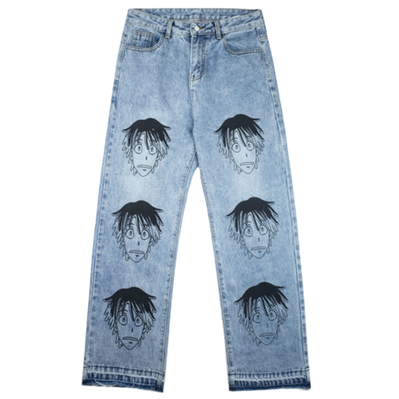 Anime Printed Mens Fashion Blue Jeans Loose Hip Hop Trousers 2019 New Casual Men Zipper Skateboard Pants Streetwear Jeens Hombre