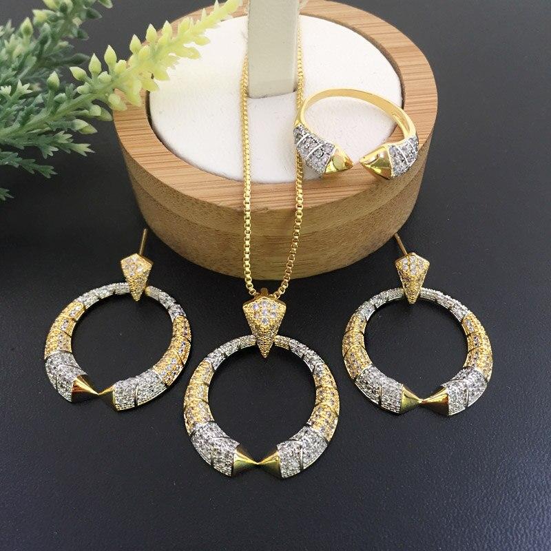 Модные ювелирные изделия Lanyika с микроинкрустацией ожерелье с серьгами и кольцо для свадебного банкета роскошный лучший подарок|Ювелирные наборы| | АлиЭкспресс