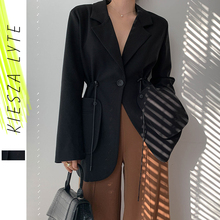 Women Chic Black Blazer Casual Drawstring Single Button Office Ladies Pockets