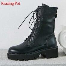 Krazing Topf 2022 full grain leder motorräder stiefel runde kappe kreuz-gebunden med heels lace up big size winter warm mid-kalb stiefel