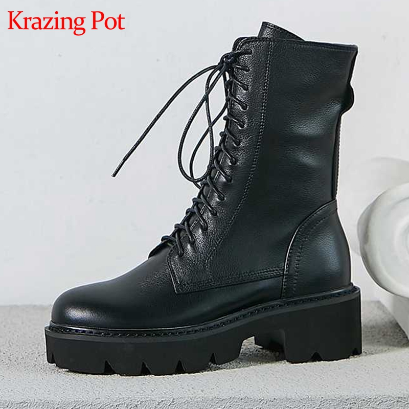 krazing pot 2020 full grain leather round toe cross tied med heels lace up big size