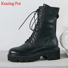 Boots Krazing-Pot Med-Heels Girl Big-Size Keep-Warm Round-Toe Lace-Up Mid-Calf Cross-Tied
