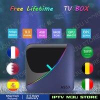 Free Lifetime TV Box A95X F3 Air RGB Light Android 9.0 4GB 64GB Amlogic S905X3 8K HD Netflix Media Android H96 Box