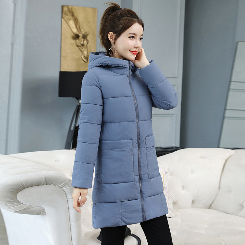 KMVEXO 2019 Fashion Winter Medium And Long Section Parkas Jacket Women Hooded Slim Warm Sweet Coat Casual