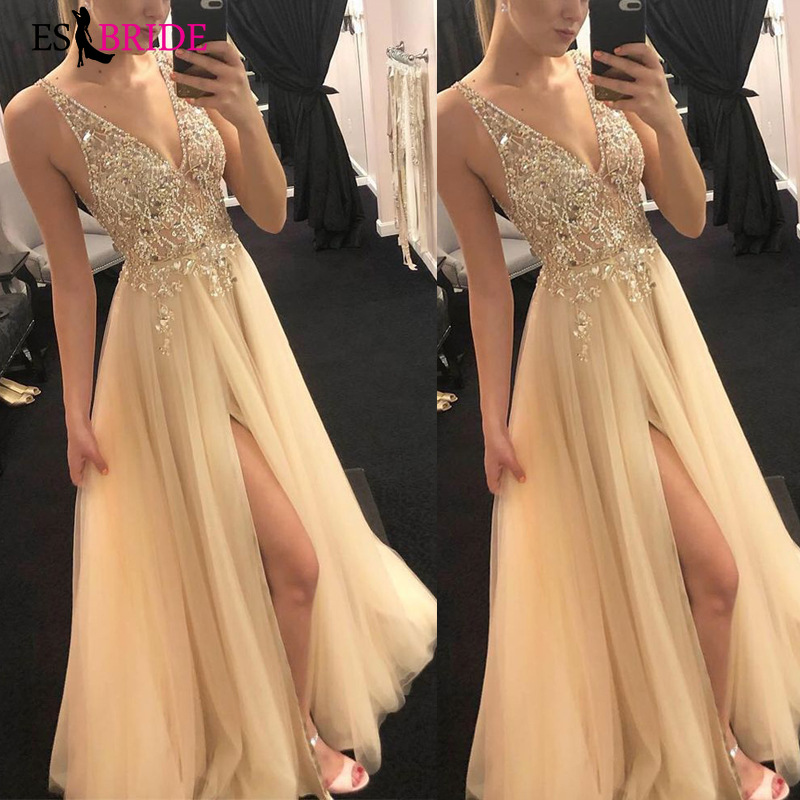 Luxury Gold Ladies Long   Evening     Dresses   Sexy V-neck Elegant Lace Appliques Plus Size Formal Gowns A-line Robe De Soiree ES2667