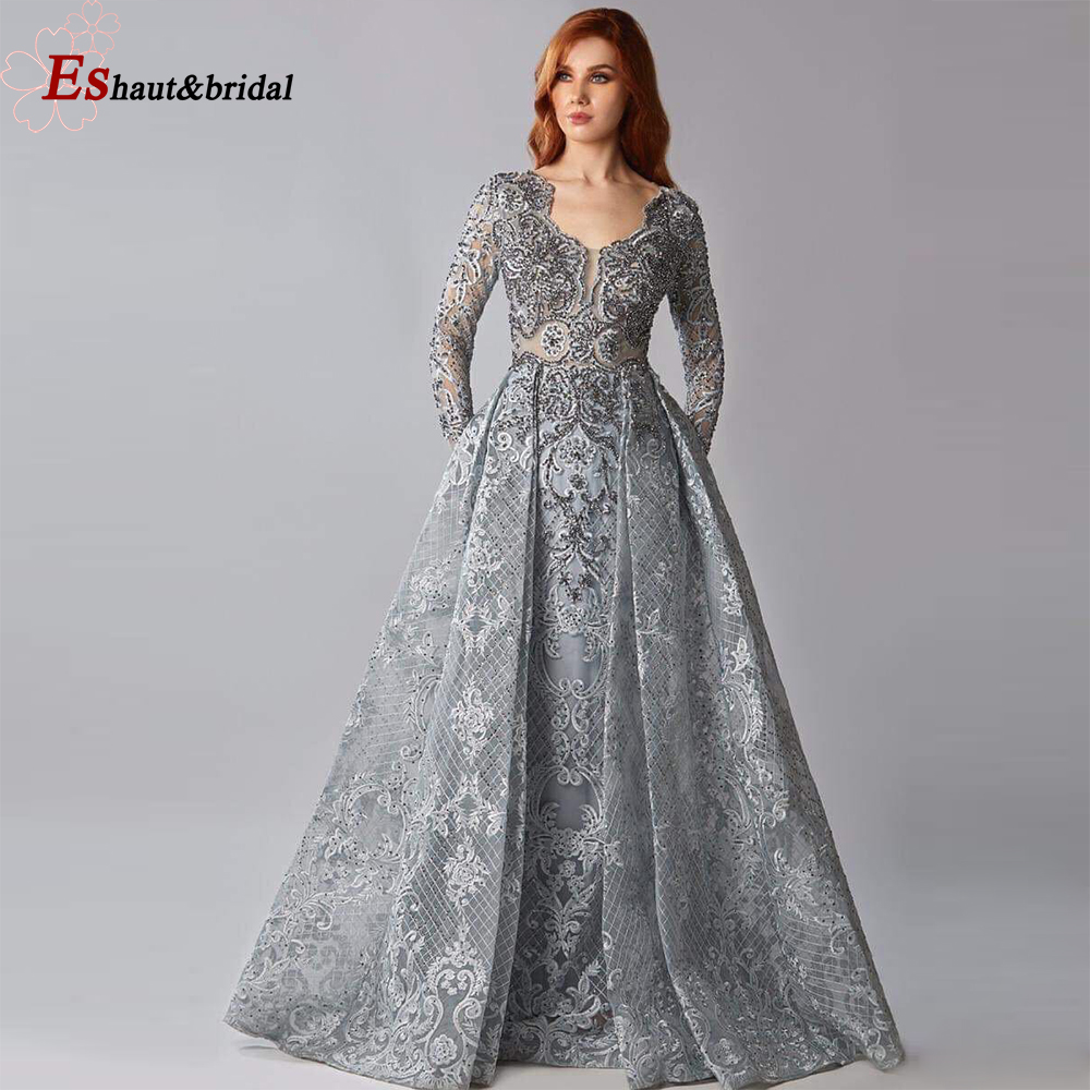 New Collection 2020 Dubai Full Lace Long Sleeves Evening Dress Mermaid Crystal Handmade Arabic Formal Party Gown