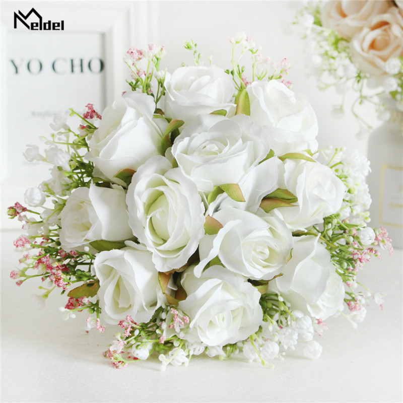 Meldel Bouquet Bride Wedding Flower Artificial Silk Rose Baby's Breath Bridesmaid Sister Wedding Flower Bouquet Girl Home Decor
