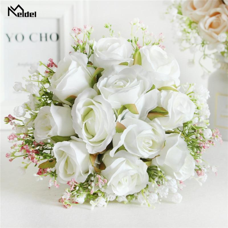 Meldel Bouquet Bride Wedding Flower Artificial Silk Rose Baby's Breath Bridesmaid Sister Wedding Flower Bouquet Girl Home Decor