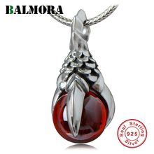 BALMORA 100% Pure 925 Sterling Silver Vintage Garnet Pendant For Necklaces Dragon Claw Charm For Men